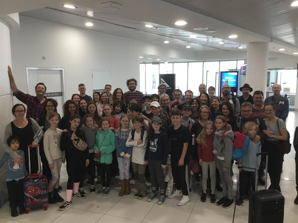Students, teachers and parents at the Perth Airport
