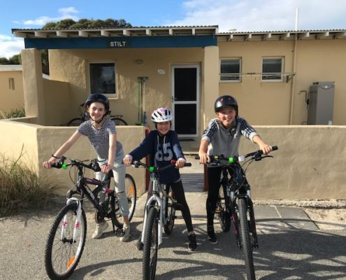 cycling trio - primary school students freo