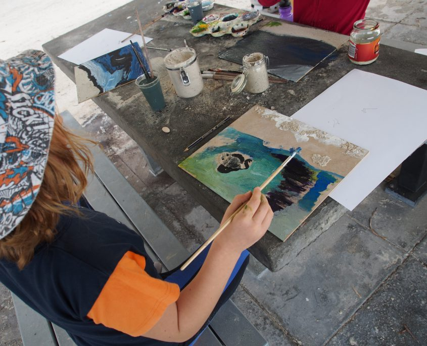 art class - student painting the beach - fremantle primary school