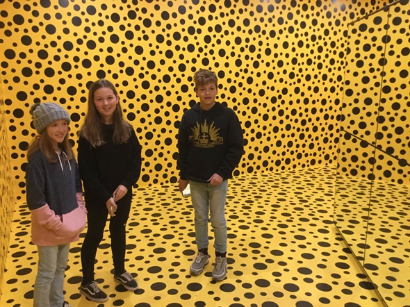 Students at an exhibition in the Australian Art Gallery