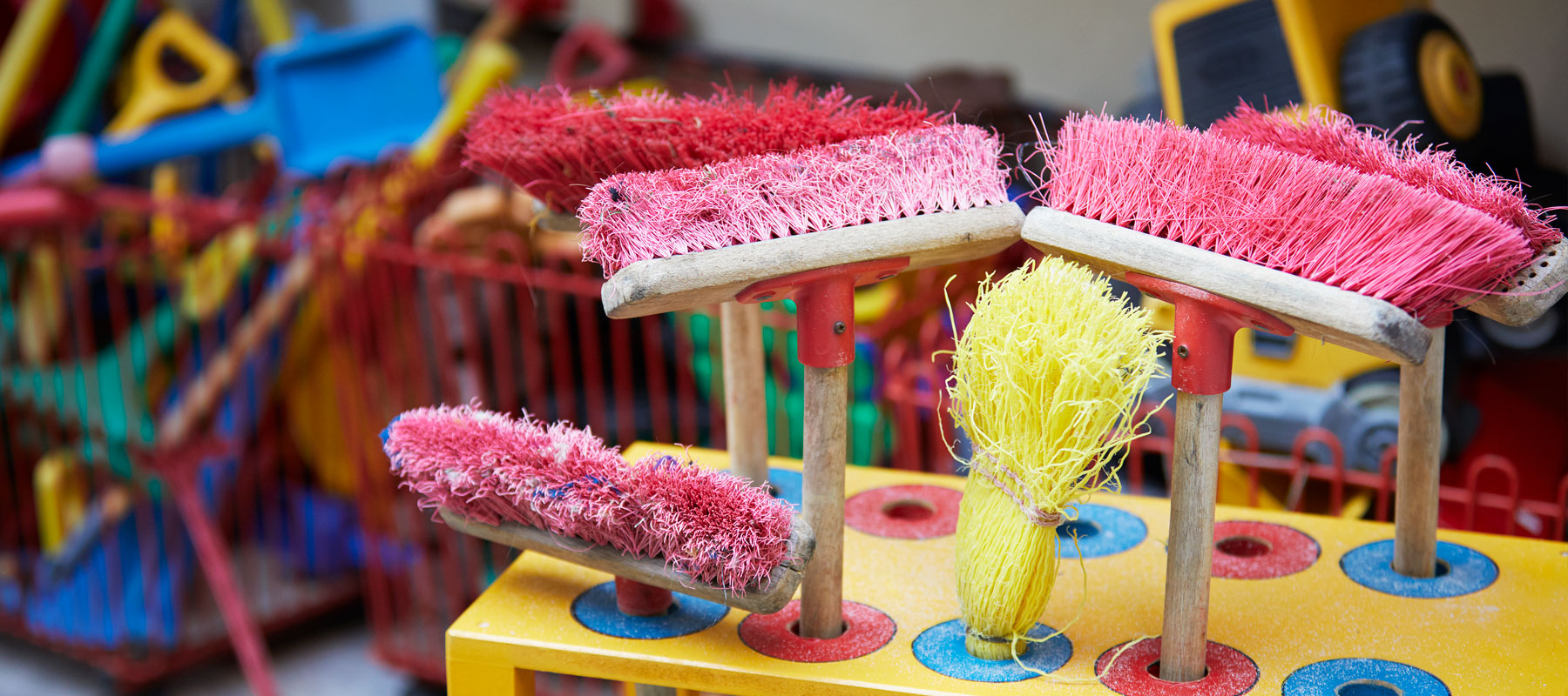 brooms and playground equipment