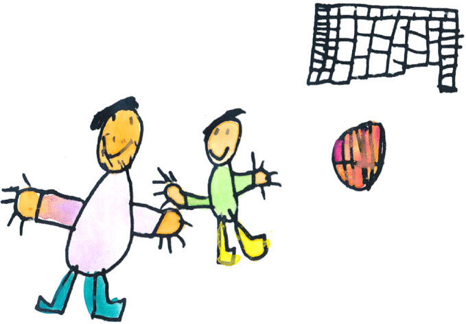 closeup of soccer drawing by primary school student