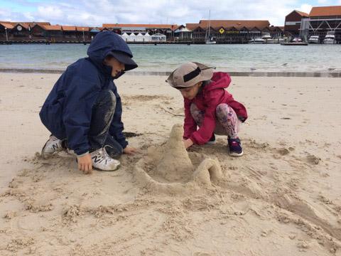 Sandcastle making at camp