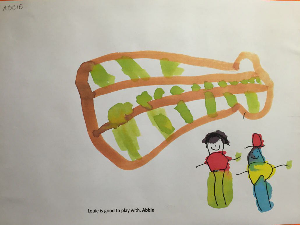 "Child's drawing ""Louis is good to play with. By Abby"""