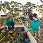 watering at Lance Holt Community Garden