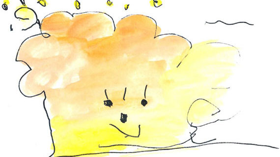 kids drawing of windy weather