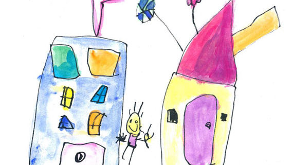 kids artwork of two houses