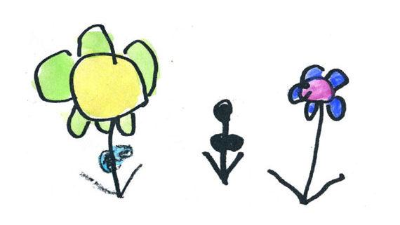 Kids drawing of flowers