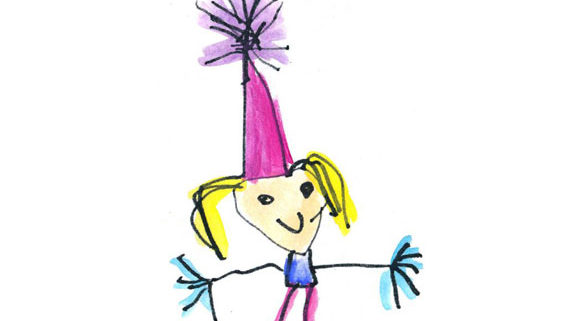 kids drawing of girl with hat