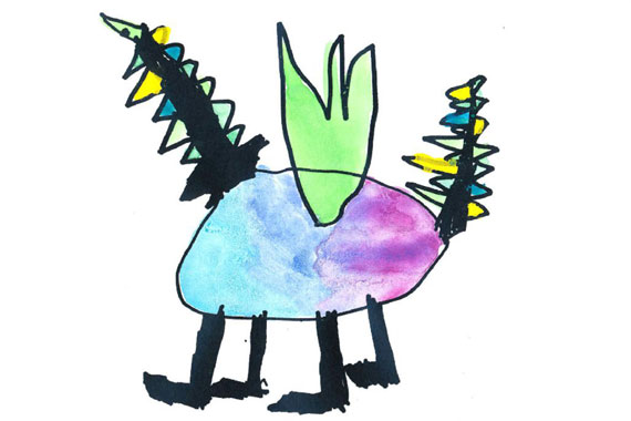 kids drawing of a dragon