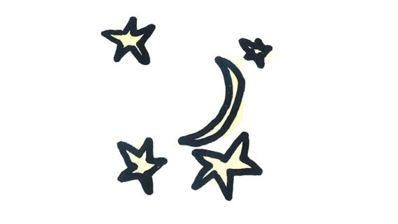 kids drawing of stars and the moon