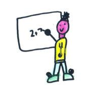 kids drawing of teacher writing maths sum on whiteboard