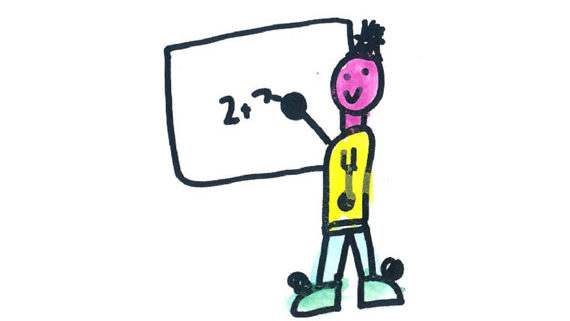 kids drawing of teacher writing maths sum on whiteboard