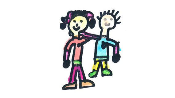 kids drawing of two friends arm in arm