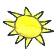 kids drawing of large yellow sun