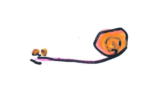 kids drawing of a snail