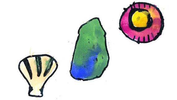 kids drawing of sea shells and rocks