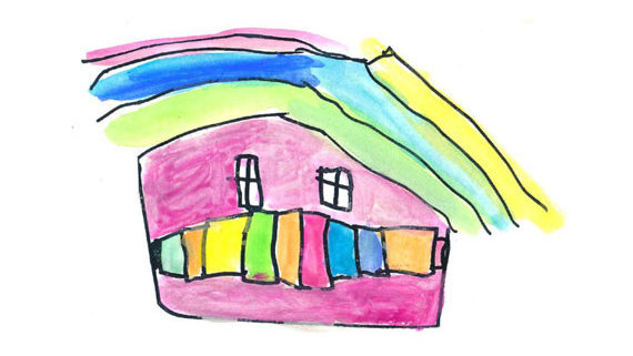 kids drawing of a house