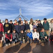 students outside Parliament House in Canberra